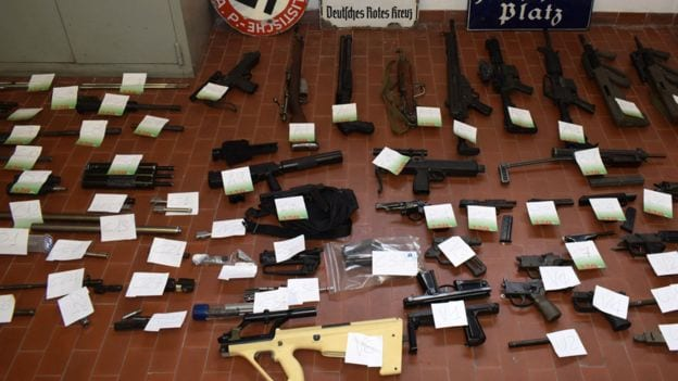 Italian police have seized a large cache of deadly weapons, including an air-to-air missile, in raids on neo-Nazi sympathisers.