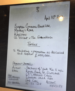 An invoice by the Duchess of York for 'marketing services'