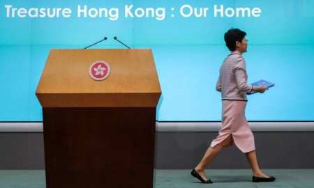 Lam abandons speech as Hong Kong lawmakers say she has 'blood on her hands'