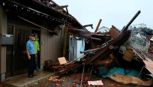 A house is damaged by strong wind that is considered to be tornado in Ichihara