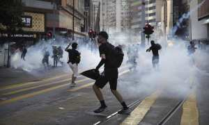 Hong Kong protests for the fifth month in a row as fierce demonstrators create carnage in the downtown area of the metropolitan