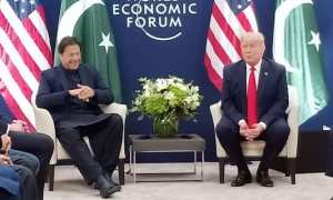 Imran Khan and President Donald Trump meeting in Davos 2020 at the World Economic Forum