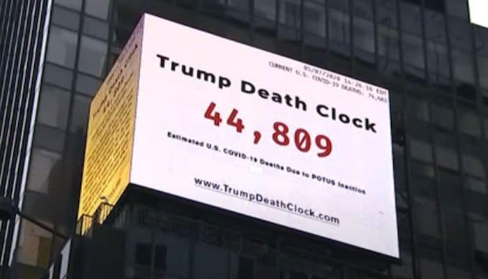 Trump Death Clock: NY Times Square counts preventable US coronavirus deaths