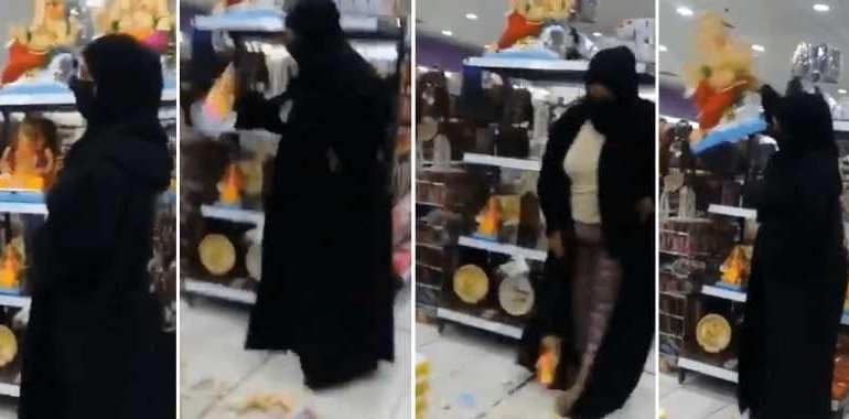Bahrain: Woman,54, wearing burqa goes viral for smashing Hindu gods, now charged