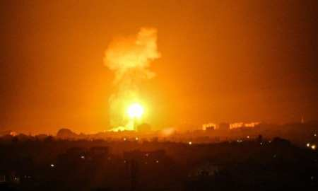 "Israeli warplanes strike Gaza. Israel officials have said the retaliation was in response to ""explosive and arson balloons launched from the Gaza Strip into Israel."""