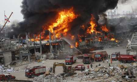 Massive fire erupts at Lebanon explosion site