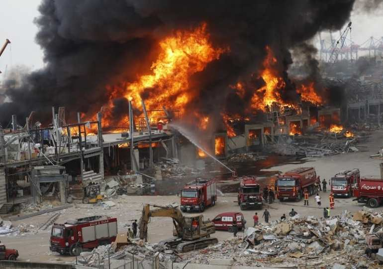 Massive fire erupts at Beirut port --1 month after it was devastated by disaster