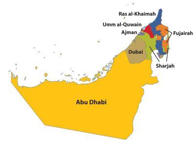 Map of the United Arab Emirates UAE