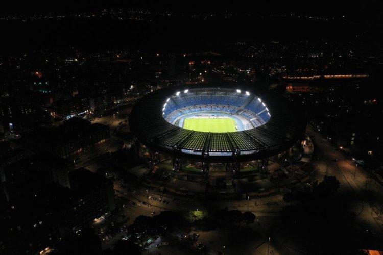 The Stadio San Paulo stadium in Naples has been lit up for Diego Maradona