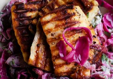 Nigel Slater's recipe for halloumi with pickled slaw