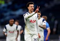 Alli celebrates his goal in Europa League fixture between Tottenham and Wolfsberger