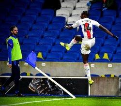 Monday's Premier League result: Jean-Philippe Mateta celebrates his outstanding finish against Brighton