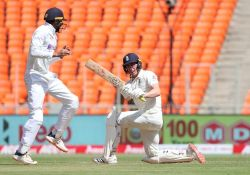 England's Dan Lawrence managed 46 before falling to India's Axar Patel