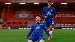 Mason Mount celebrates his goal against Liverpool in Thursday's Premier League fixture