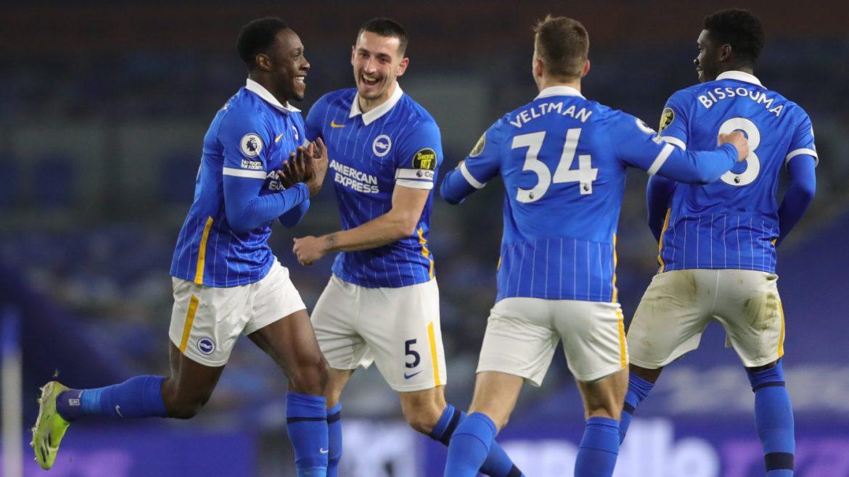 Saturday night's Premier League fixture between Brighton and Newcastle - Welbeck celebrates