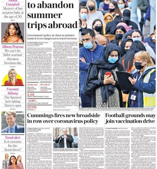 Daily Telegraph says holiday guidance is causing chaos