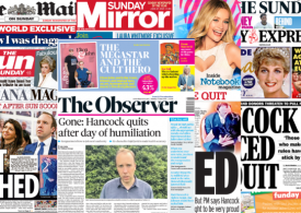 Sunday Papers: Matt Hancock QUITS job and Marriage
