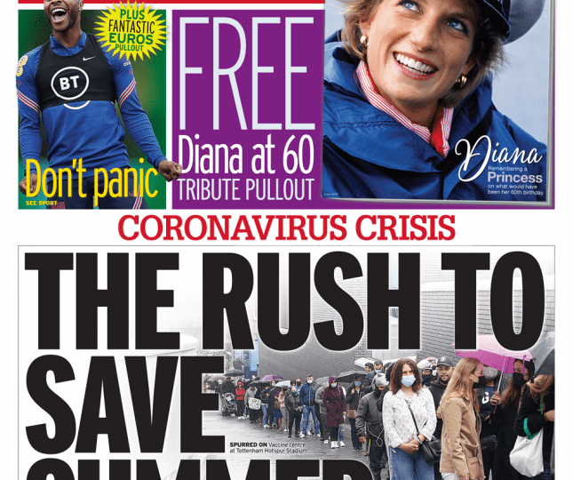 Daily Mirror - The rush to save summer, under-18s flock to get jab