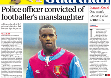 The Guardian - Police officer convicted of footballer's manslaughter