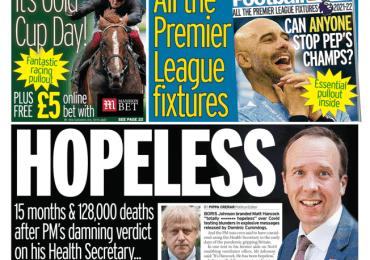Daily Mirror - Matt Hancock 'hopeless'