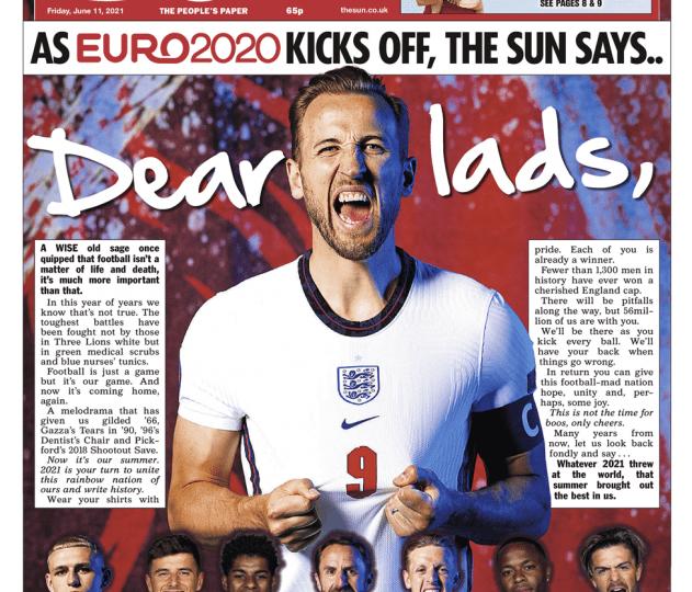 The Sun - Euro 2020 - 'Dear lads'