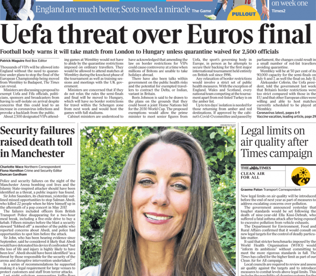 The Times - Uefa threat over Euros final