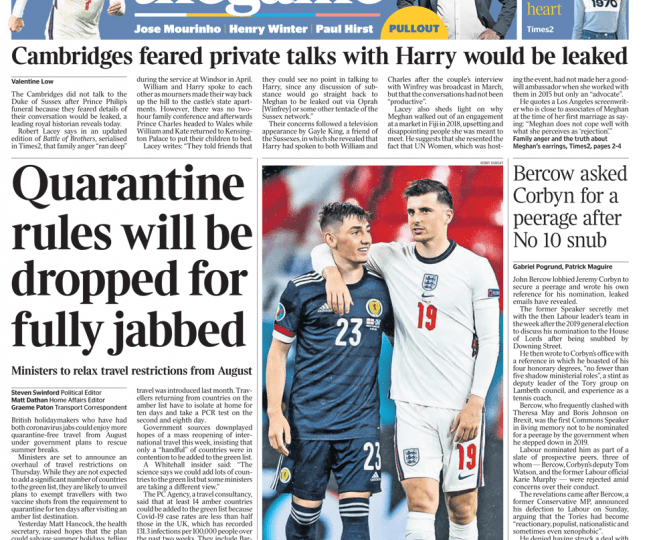 The Times - Quarantine rules will be dropped for fully jabbed