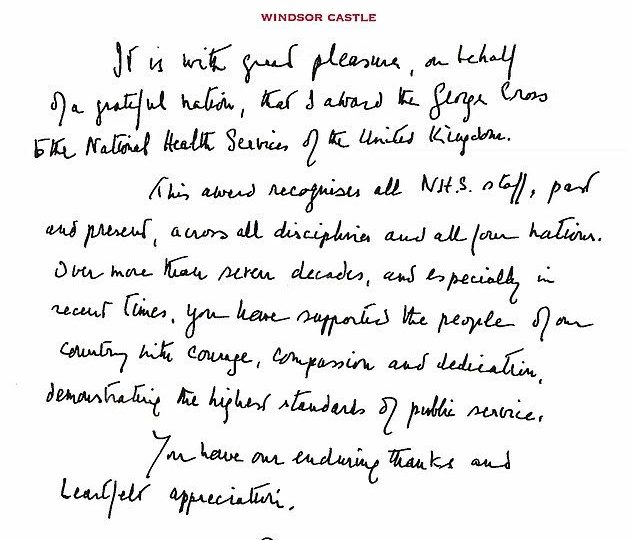 The Queen's Handwritten Letter to Entire NHS As She Awards Covid Heroes The George Cross