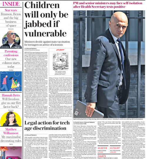 Sunday Telegraph - Children only jabbed if they are vulnerable
