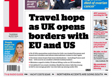 The i - 'Travel hope as UK opens borders with EU and US'