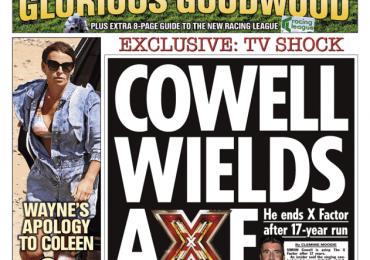 The Sun- 'Cowell wields axe on X factor'