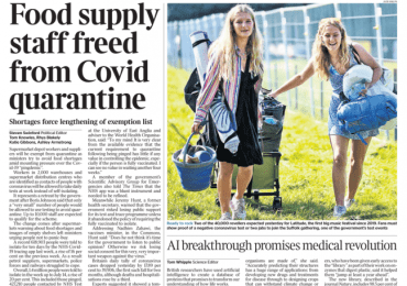 The Times - 'Food supply staff freed from quarantine'