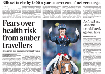 The Times - 'Fears over health risks from amber travellers'