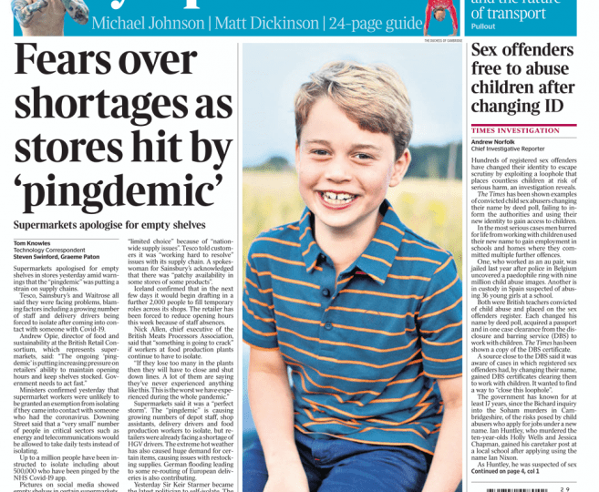 The Times - Fears over shortages as stores hit by 'pingdemic'
