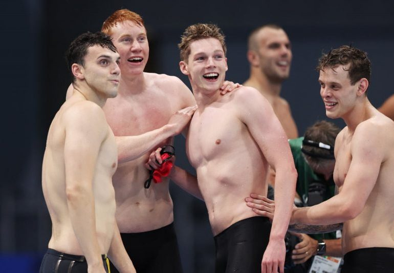 Tom Dean becomes a double Olympic swimming champion as Team GB take gold in 4x200m relay