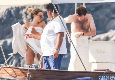 Princess Eugenie's husband frolics with models on yacht