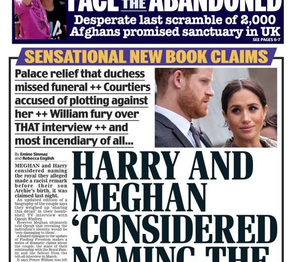 captionThe Daily Mail carries claims that Harry and Meghan considered naming a royal they alleged made a racist remark before their son Archie was born
