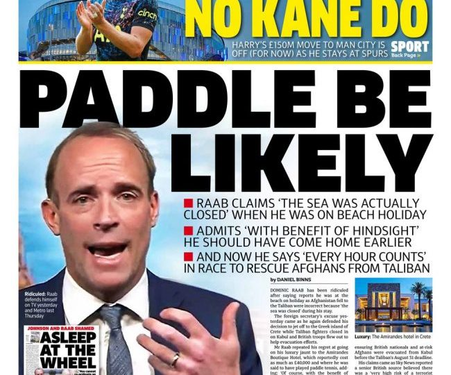The Metro - 'Paddle be likely' Dominic Raab says sea was closed