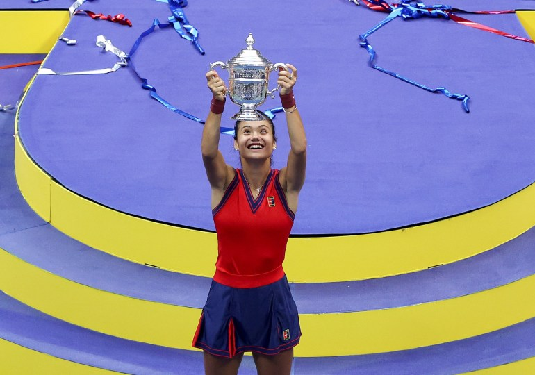 US open Champion Emma celebrates her victory on an emotional night in New York