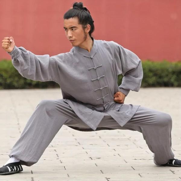 Traditional Wudang Uniform Silver Grey