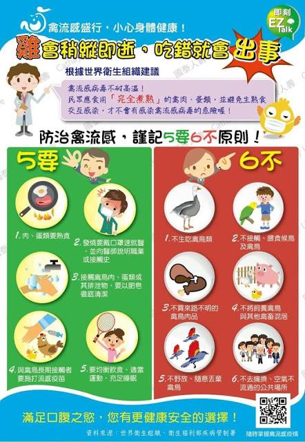 【健康資訊】預防禽流感五要六不~大家要注意自己健康