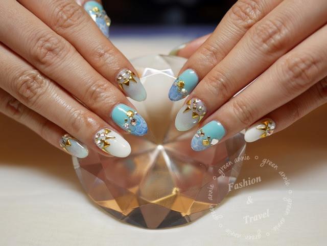 大安路潔月兒美甲,海洋風手部凝膠指甲VS.浪漫花朵感凝膠指甲 @吳大妮。Annie