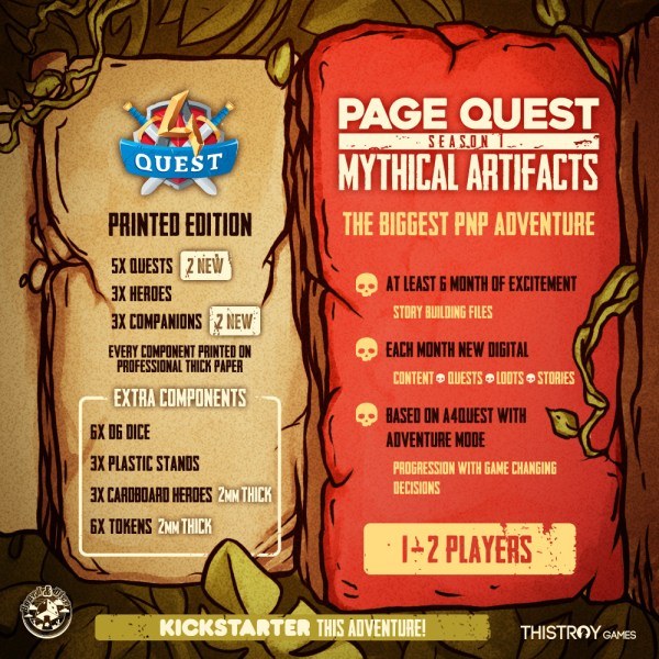 Inhalt der Kickstarter Kampagne von Board and Dice - Page Quest