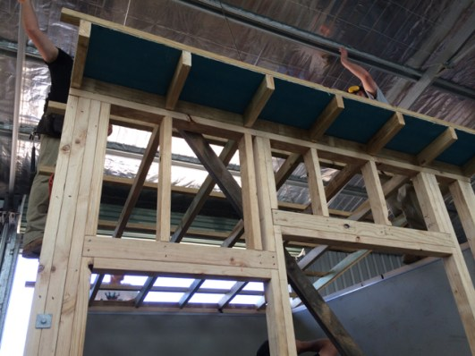 Front framing and skillion roof