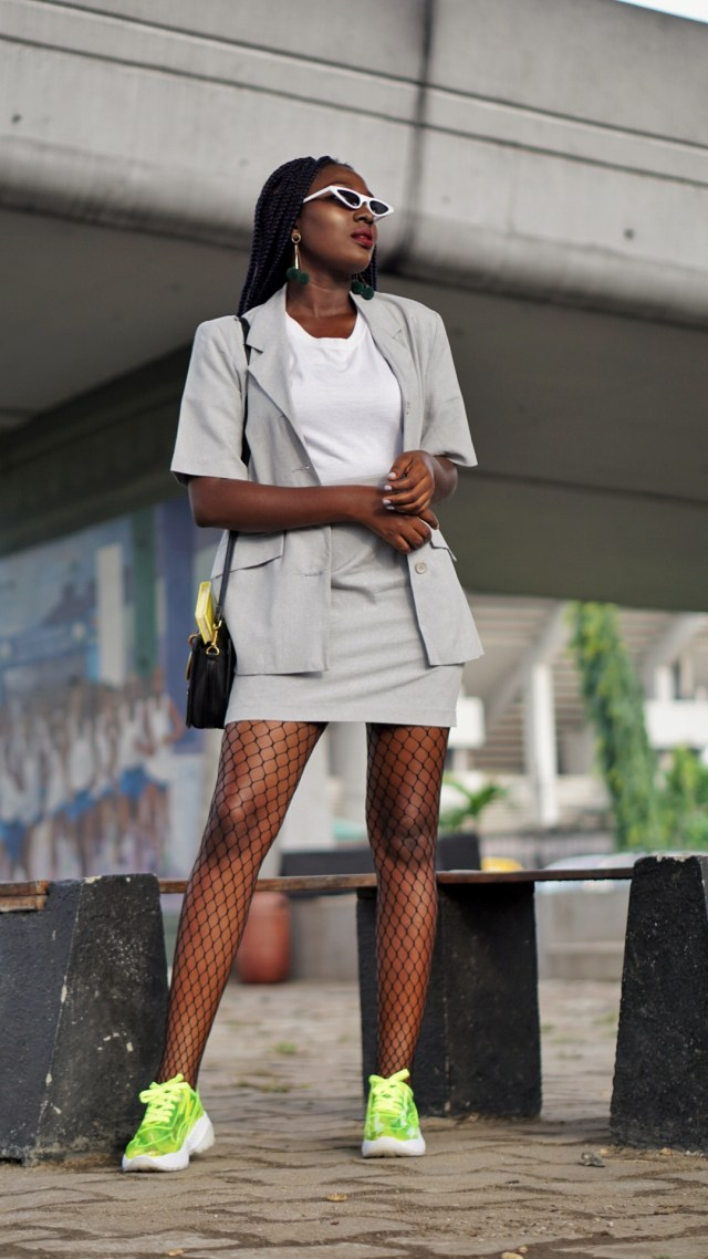 mini skirt suit trend fashion blogger wumi tuase neon pvc transparent sneakers