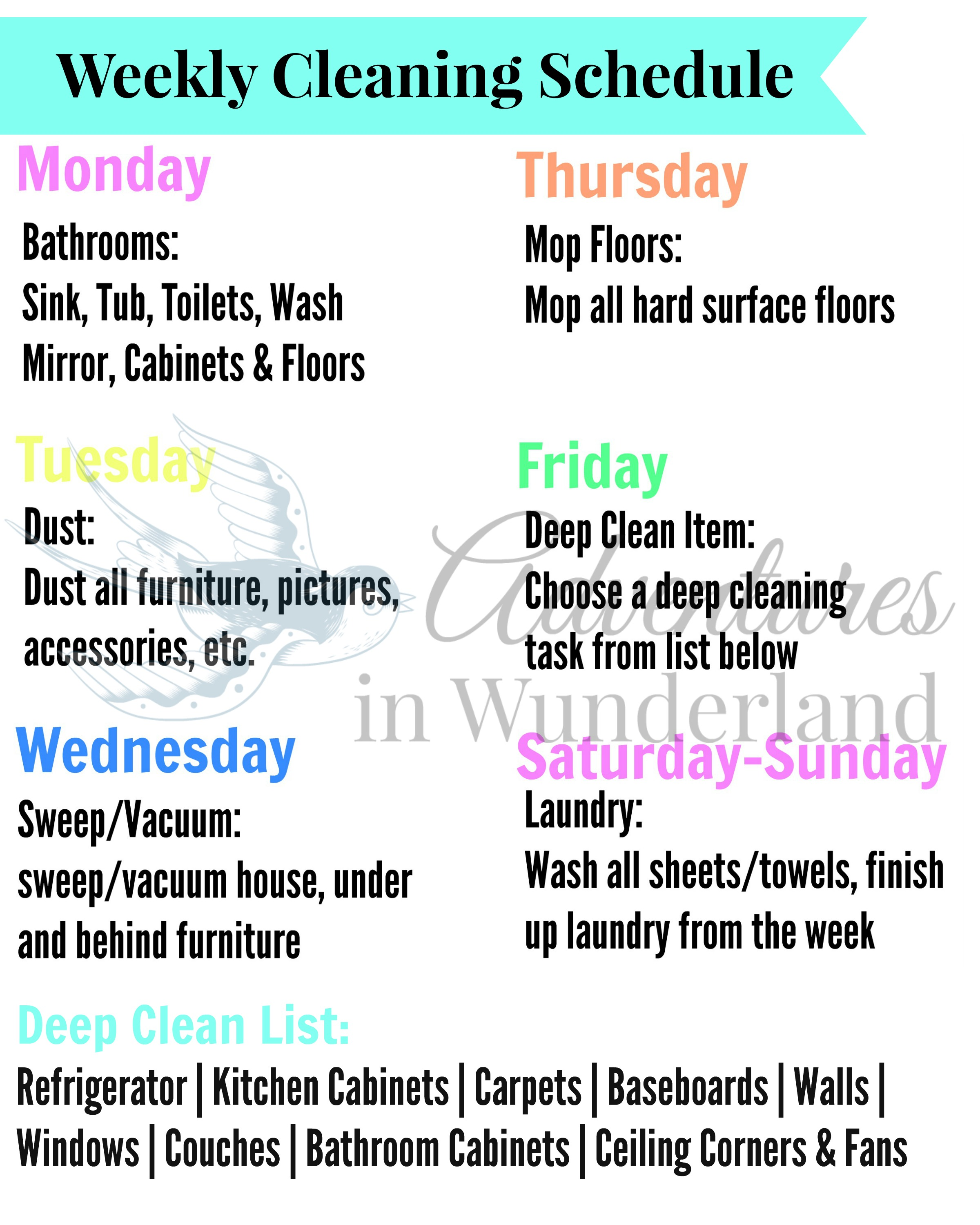 Using A Weekly Cleaning Schedule To Stay On Track