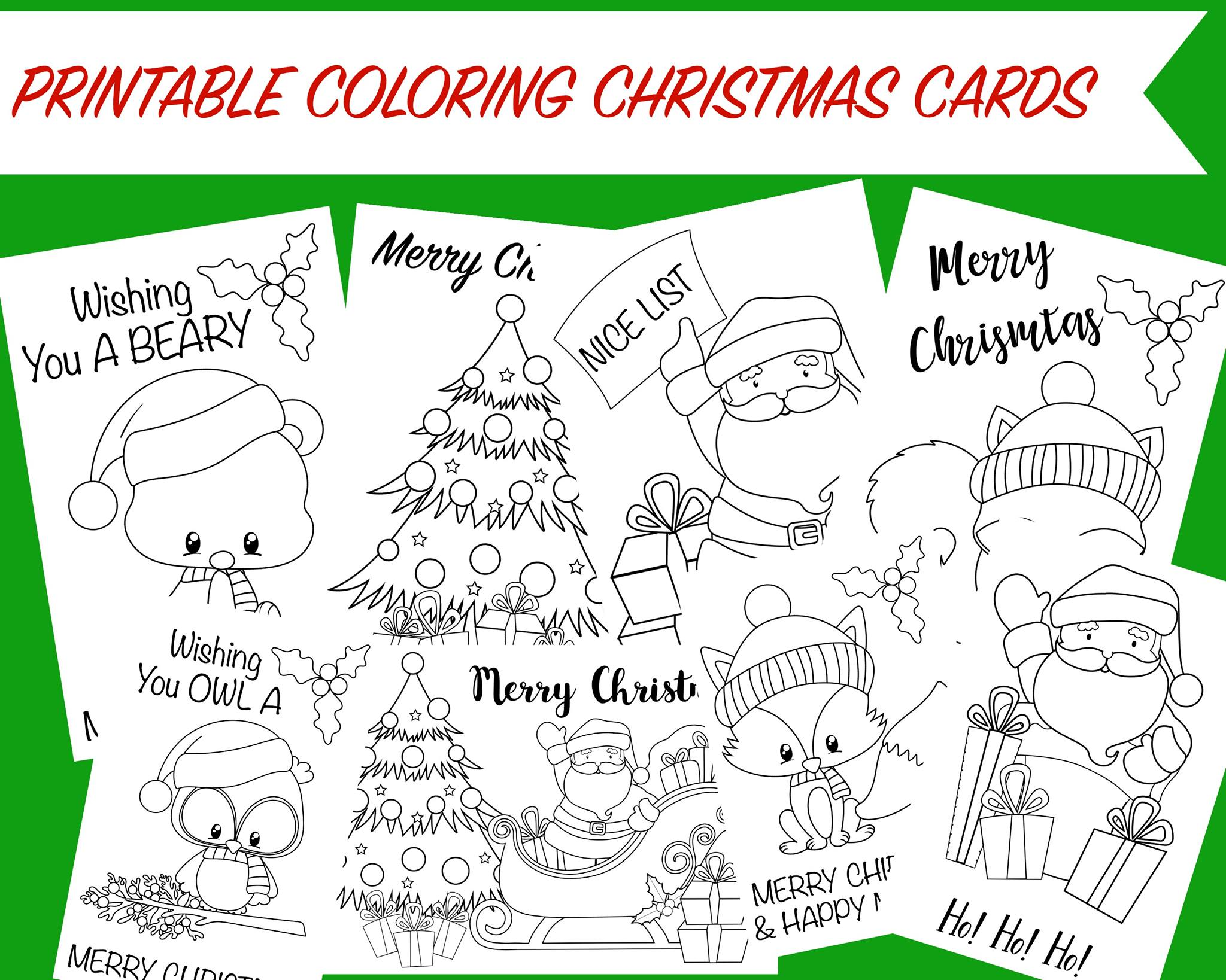 Printable Coloring Christmas Cards Wunder Mom