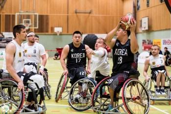 Die deutschen Herren gewinnen ihr letztes Spiel des World Super Cup 2018 mit 79:51 gegen die Herren aus Südkorea. Frankfurt, Skywheelers Dome