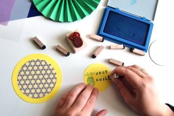 DIY - Cocarde papier tampons - Wundertute