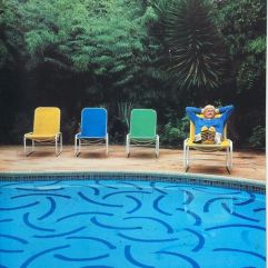 David Hockney at the pool in LA. Architectural Digest 1983